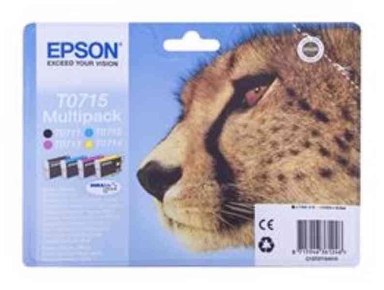 Tonery-Multi Pack Epson T0715 - 3x čern, azur, purpu, žluta