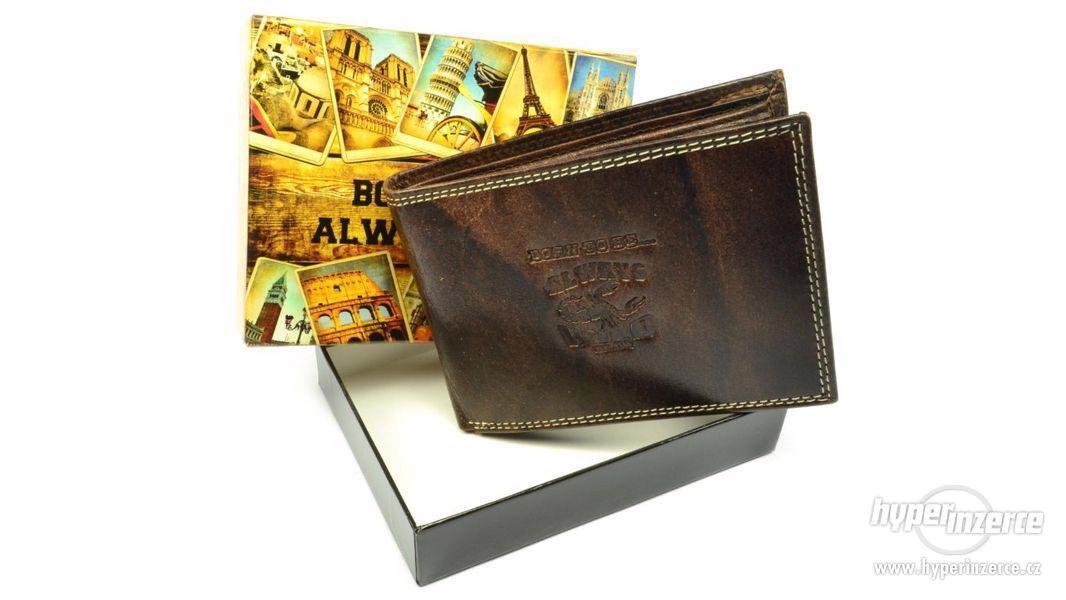 Tmavě hnědá kožená peněženka pánská