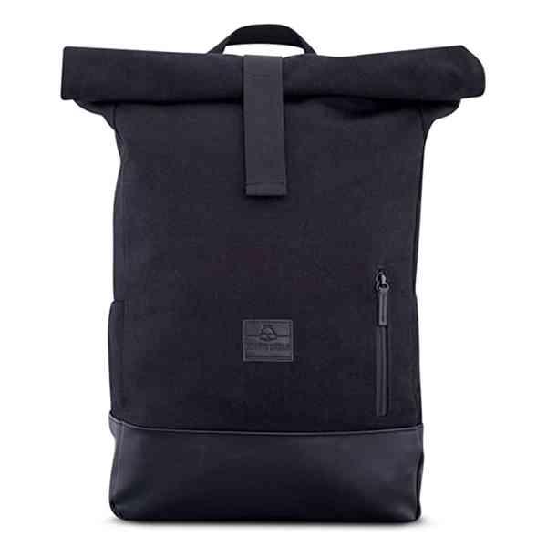 Johnny Urban - Unisex plátěný batoh Roll Top černé barvy.  V