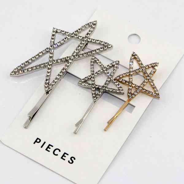 Pieces - Sada 3 sponek do vlasů Hvězda Velikost: OS