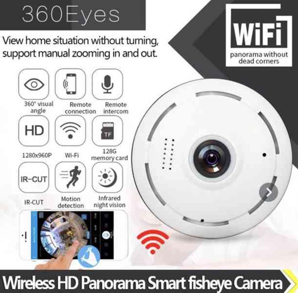 Domácí, bezpečnostní, bezdrátová, 360 stupňová IP kamera.