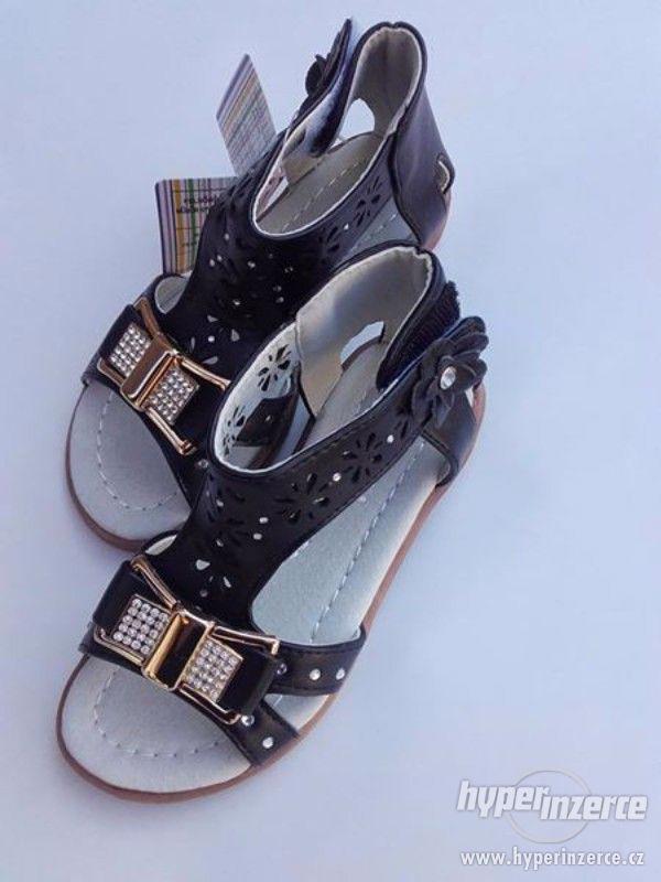 Dívčí sandálky černé-mašlička - foto 1
