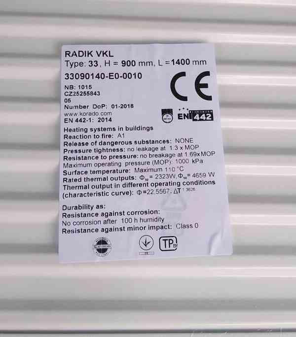 RADIÁTOR RADIK VKL 33 V=900mm, D=1400mm s držáky, NOVÉ - foto 2