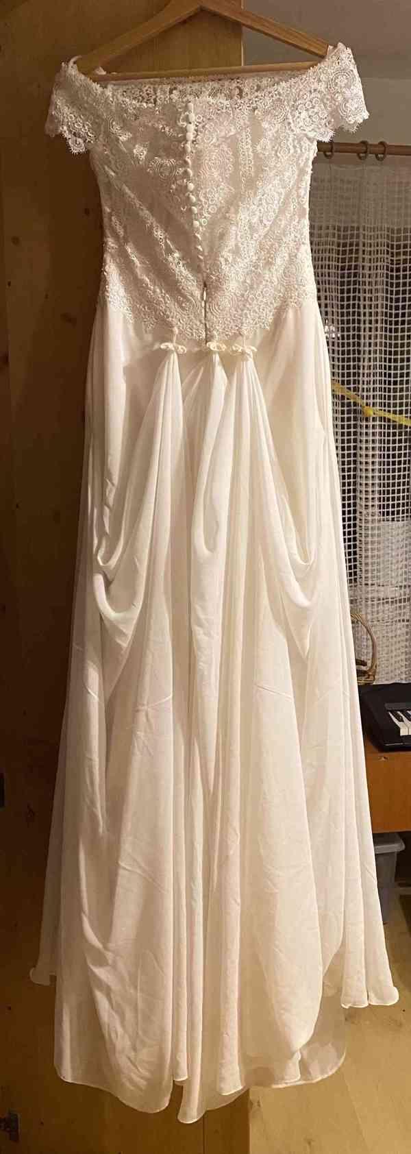 Nádherné svatební šaty vel. 32-34 barva krémová/champagne - foto 5