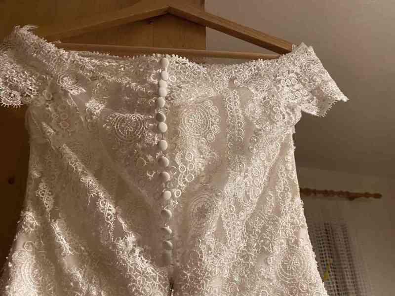 Nádherné svatební šaty vel. 32-34 barva krémová/champagne - foto 7