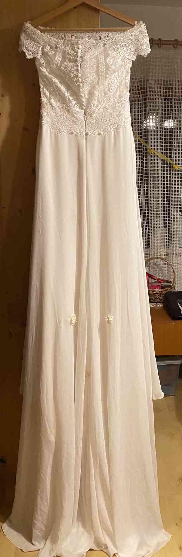 Nádherné svatební šaty vel. 32-34 barva krémová/champagne - foto 6