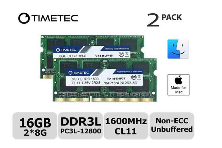 2x8GB RAM (16GB Kit) SODIMM paměť DDR3L 1600MHz pro Mac NOVÉ - foto 2