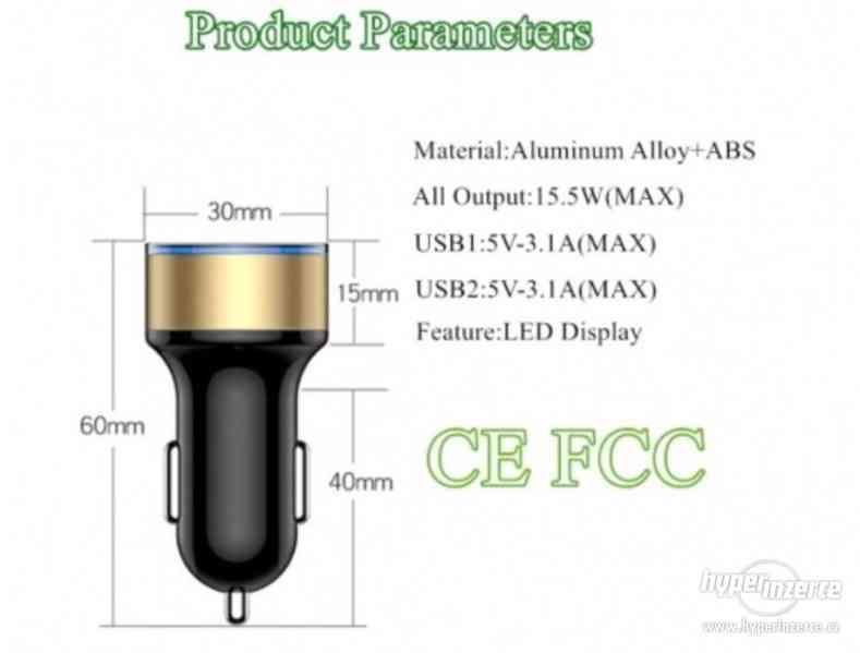 CL redukce USB nabíječka s voltmetrem do auta nové - foto 3