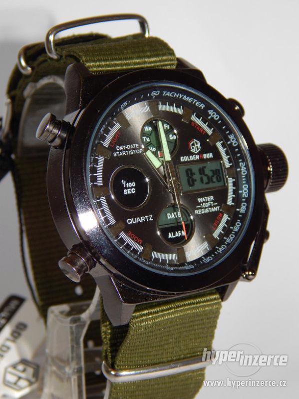 Masivní pánské  military hodinky Jäger s LCD displejem moder