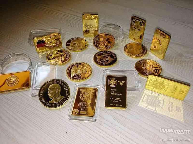 Německé zlaté cihly a mince. Sbírka