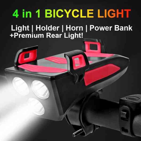 Světlo na kolo (4 v 1) 550Lm, 2400mAh  - foto 1
