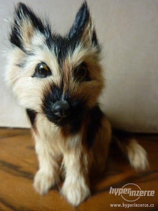 Pes hnědočerný strakáč -  figurka 12 x 11,5 x 9 cm - foto 3