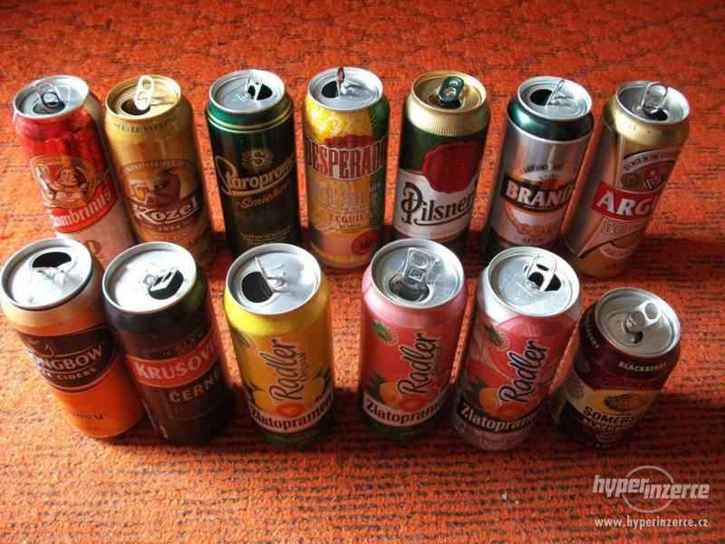 Pivní plechovky + korunkové uzávěry - foto 1