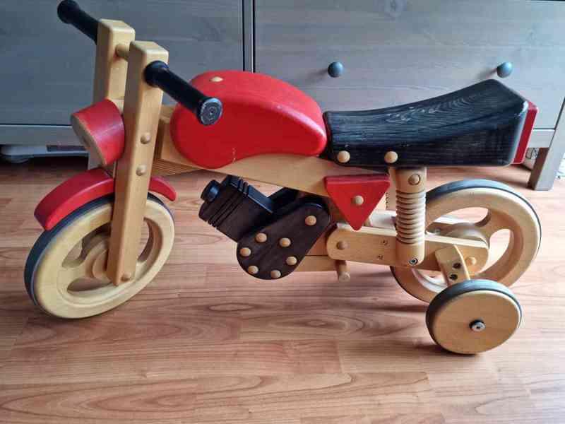 Dětské dřevěné odrážedlo motorka / houpačka - foto 3