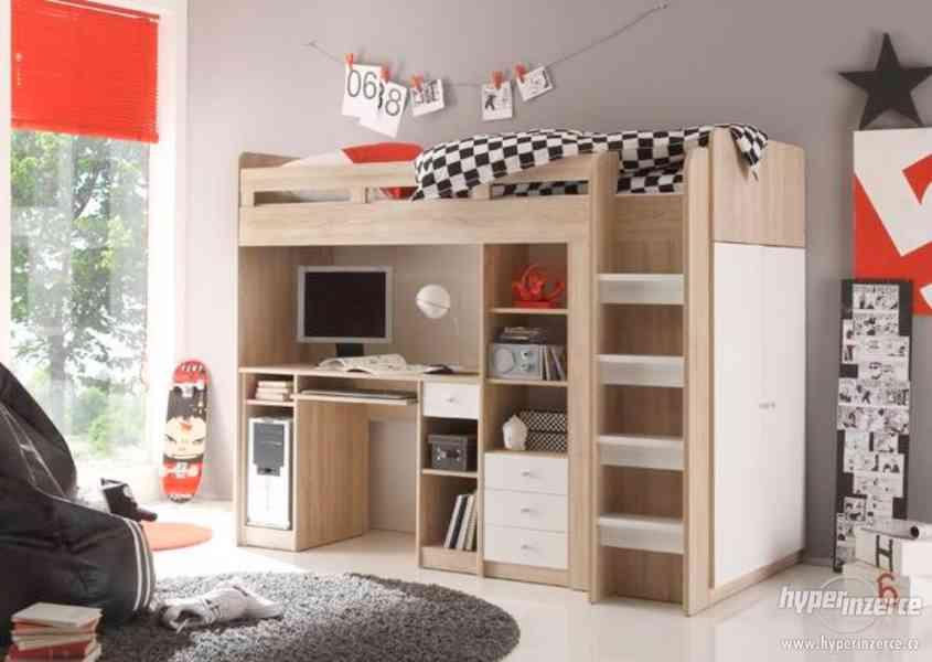 SET -Dětská patrová postel se skříní a stolem