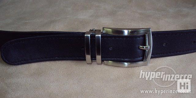 Pánský černý kožený společenský  elegantní opasek pásek - foto 1