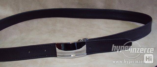 Pánský černý kožený společenský  elegantní opasek pásek - foto 4