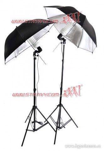 DayLight sada - 2 stativy+2deštníky + 2 footožárovky