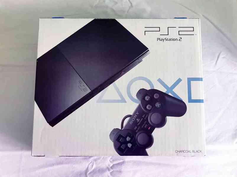 Playstation 2 SLIM a originální krabice, bílá