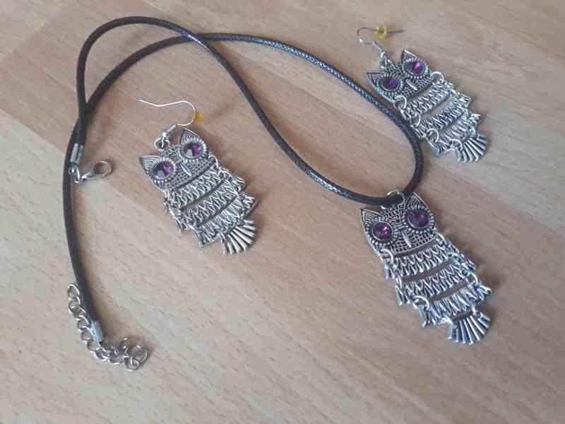Náušnice a náhrdelník Sovičky s fialovými kameny