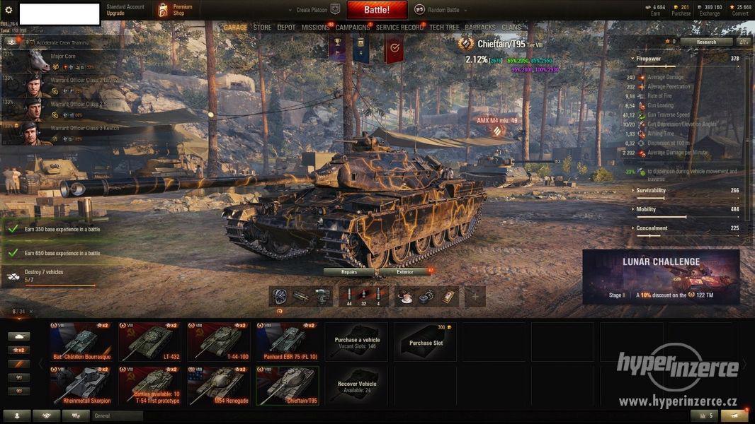 World of Tanks Účet, Chieftain, 907, +3,2k wn8 - foto 2