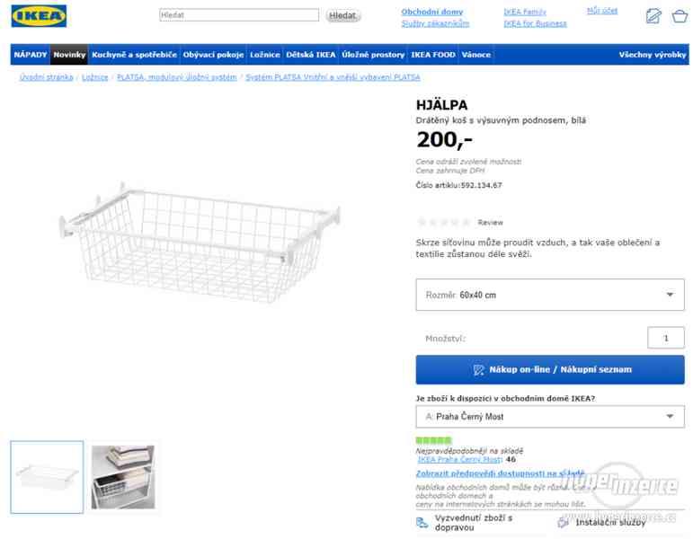 3 ks výsuvných drátěných košů IKEA s příslušenstvím