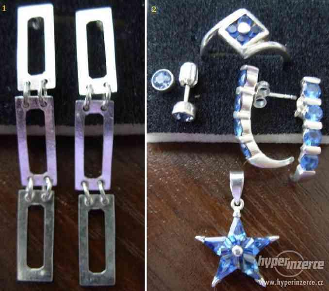Stříbrné naušnice a modrá sada (od 99,-Kč) + DÁREČEK