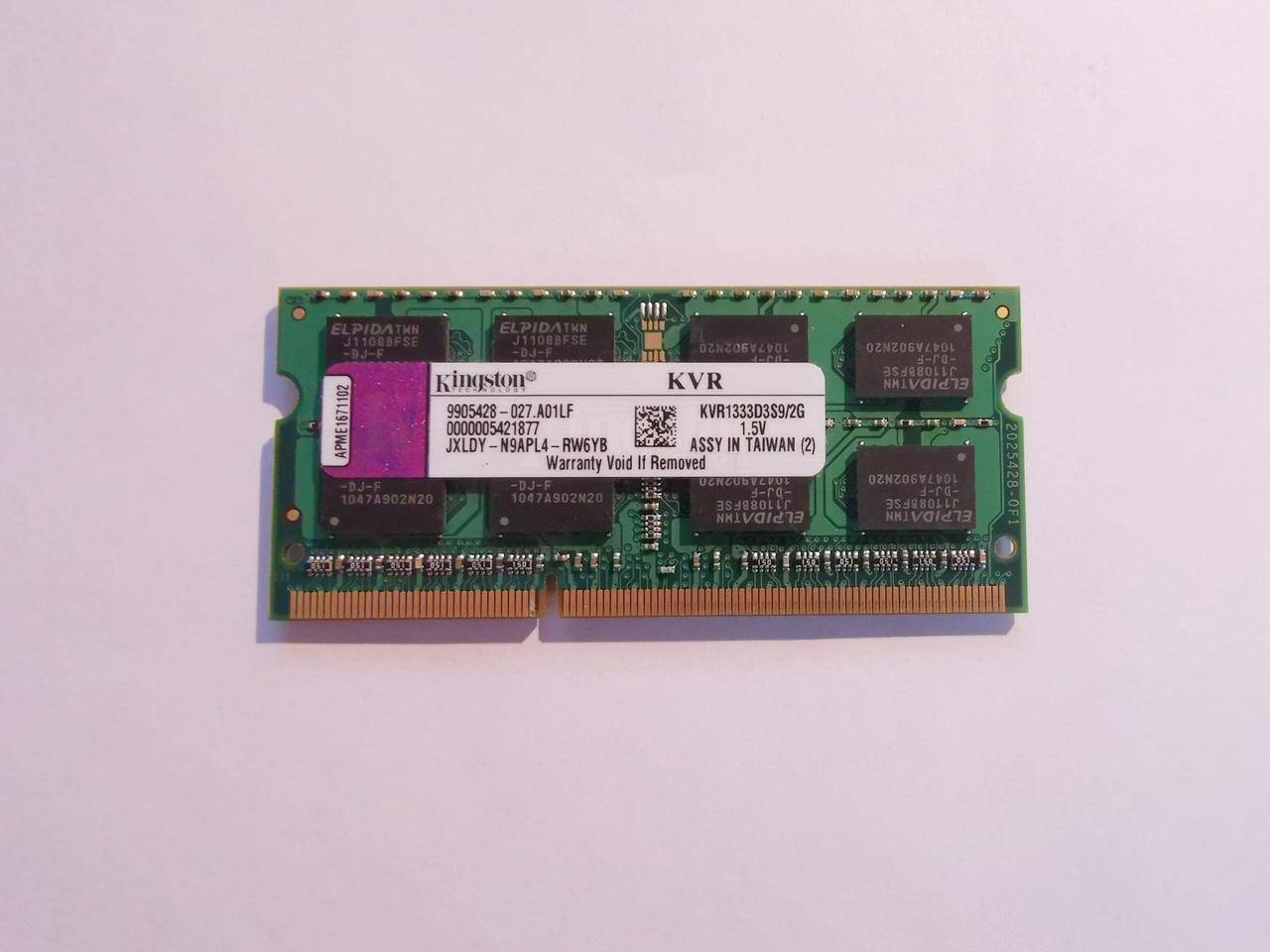 2GB RAM SODIMM DDR3-1333 Kingston paměť pro notebook - foto 1