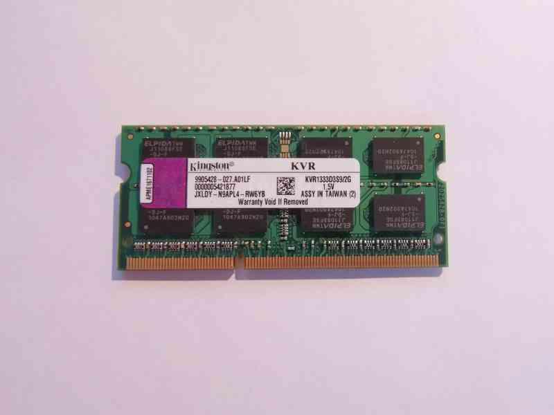 2GB RAM SODIMM DDR3-1333 Kingston paměť pro notebook