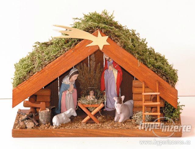 vánoční dřevěný betlém mini
