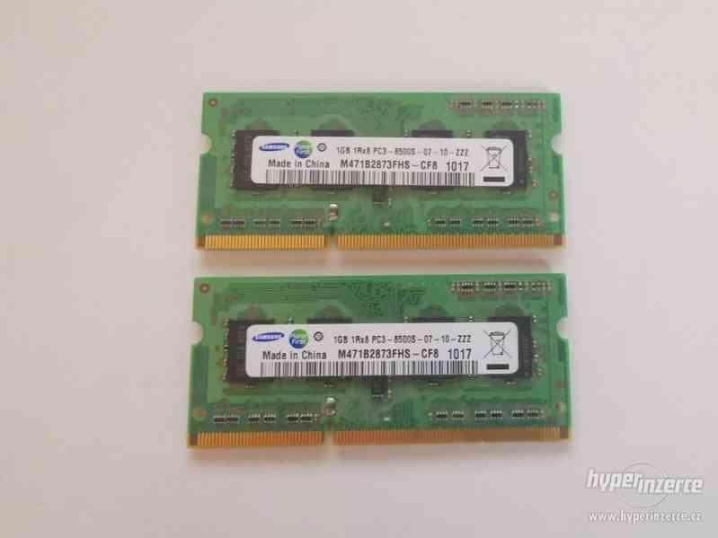 2x1GB SODIMM DDR3 PC3-8500 1066MHz Samsung sada NTB pamětí