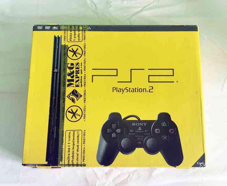 Playstation 2 SLIM a originální krabice, žlutá