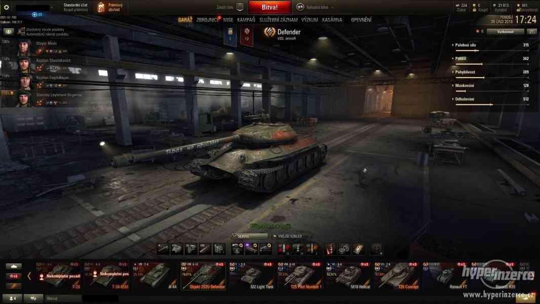 Prodám účet do World of Tanks