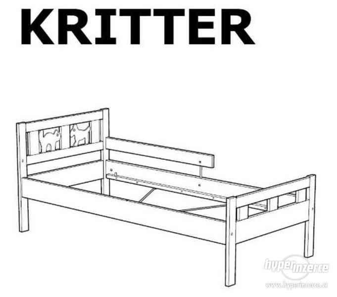 Dětská postel se zábranou + matrace (Ikea Kritter)