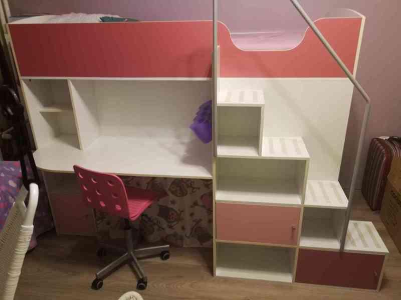 Patrová postel 3v1, židle a doplňky zdarma