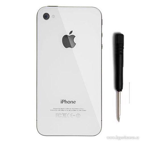 Zadní kryt (sklo) pro iPhone 4 a 4S bílý, černý + šroubovák - foto 1