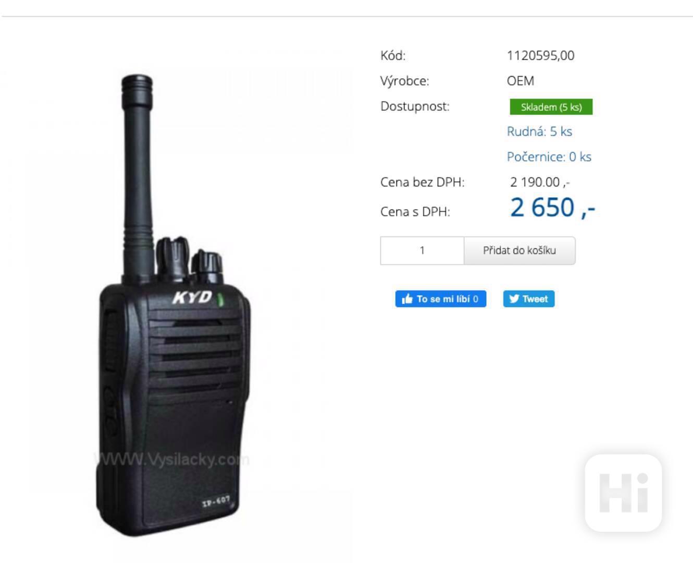Prodám 3ks Vysílačky-KYD IP-607 (3KS) - foto 1