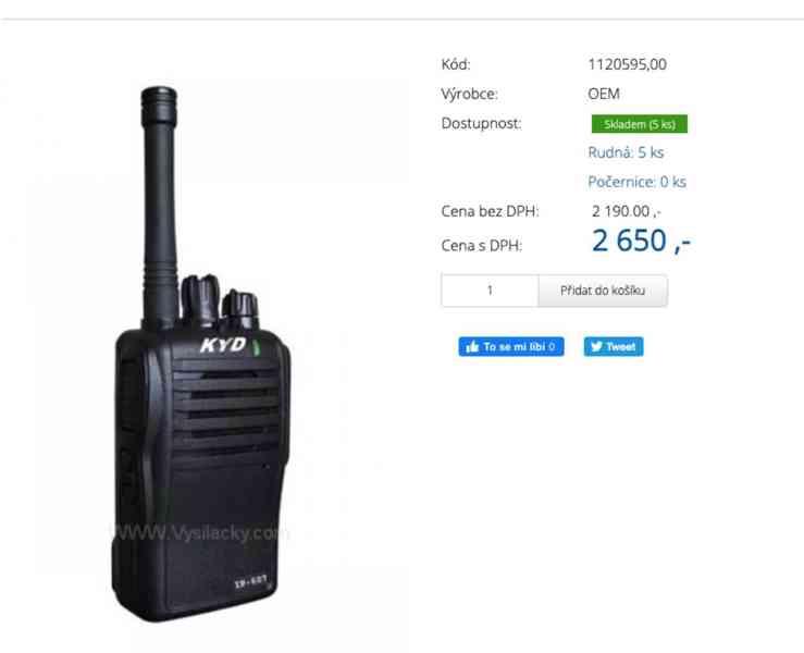 Prodám 3ks Vysílačky-KYD IP-607 (3KS)