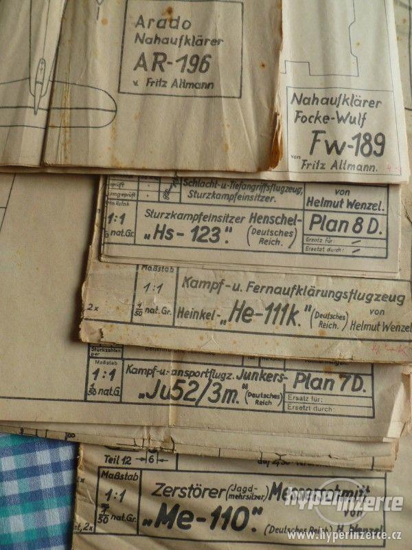 Plány maket německých letadel 1942 , FW 189 , HE 111 K atd.