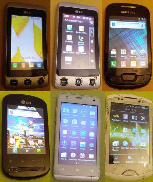 Dotykové mobilní telefony -vč. baterií a nabíječek!!! - foto 1