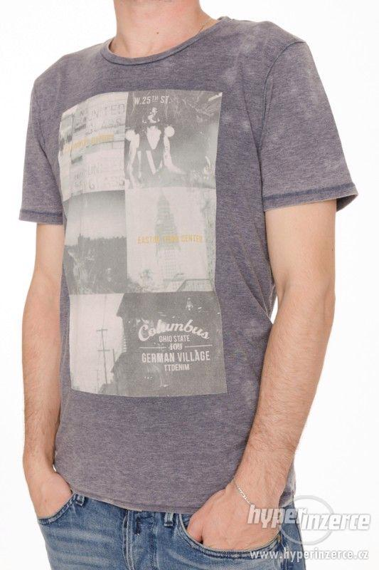 Nové pánské tričko Tom Tailor šedo modré vel M