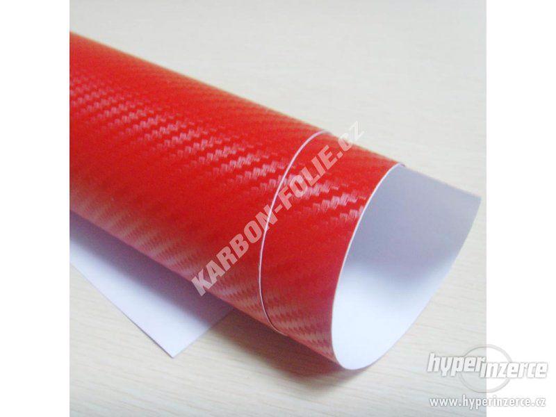 Karbonová 3D fólie - ČERVENÁ tvarovatelná wrap carbon 152cm