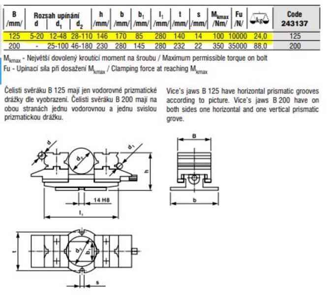 Čelisťový samostředící strojní svěrák TYP 125 ČSN 24 3137 - foto 6