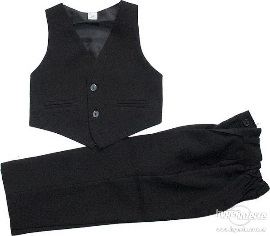 Levný dětský chlapecký společenský oblek, vesta a kalhoty - foto 1