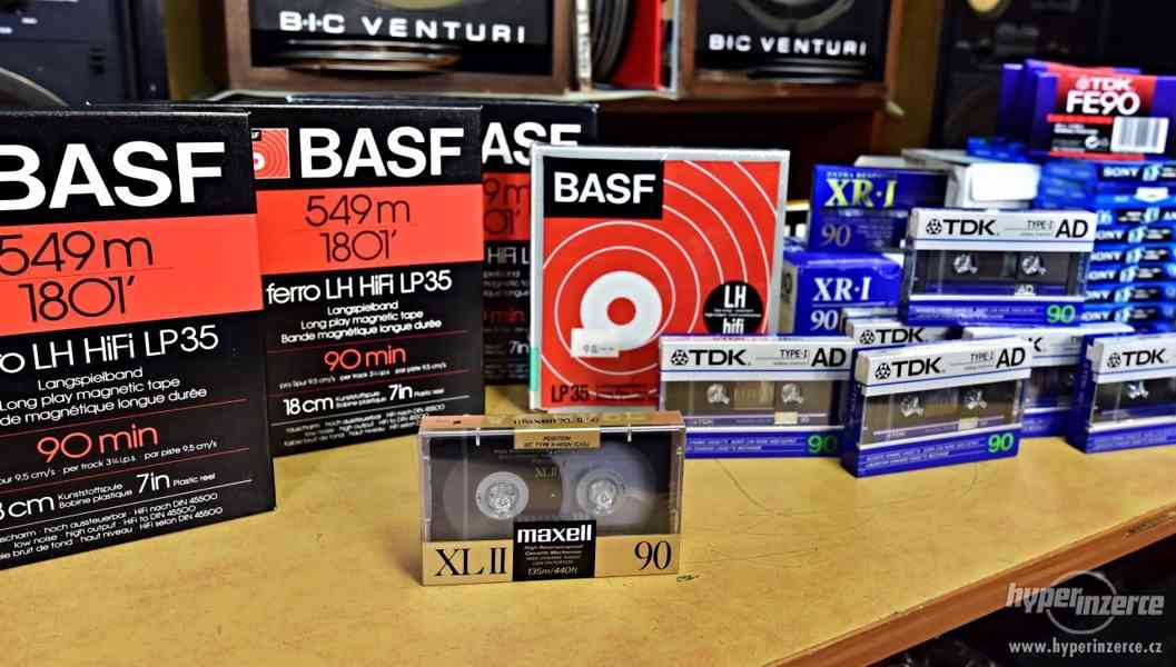 Magnetofonové pásky kazety nerozbalené MAXELL, BASF, TDK