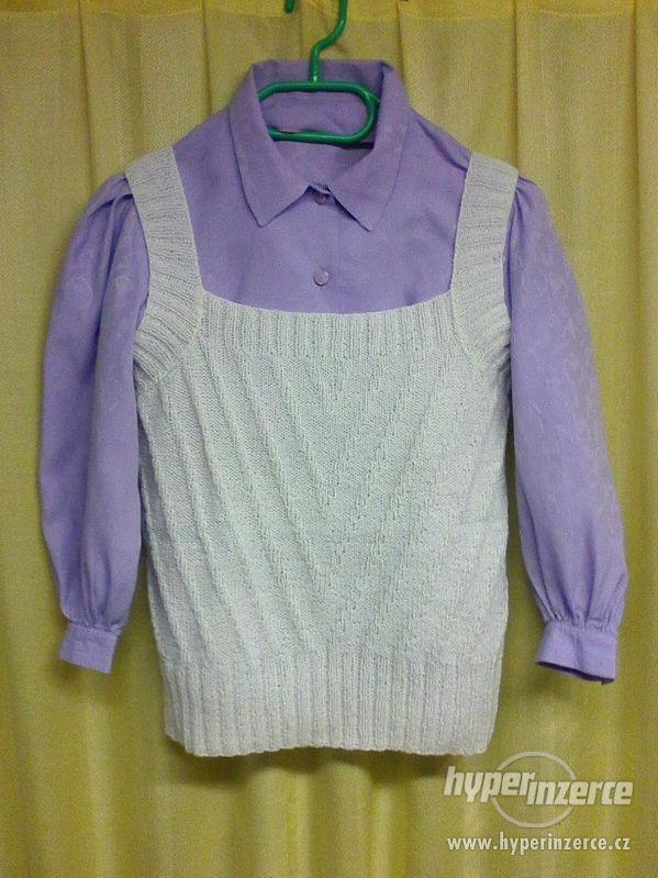 Košilová halenka a bílá pletená vestička, vel. 140