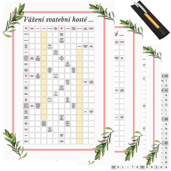 Svatební hra křížovka + 30x kuličkové pero  - foto 2