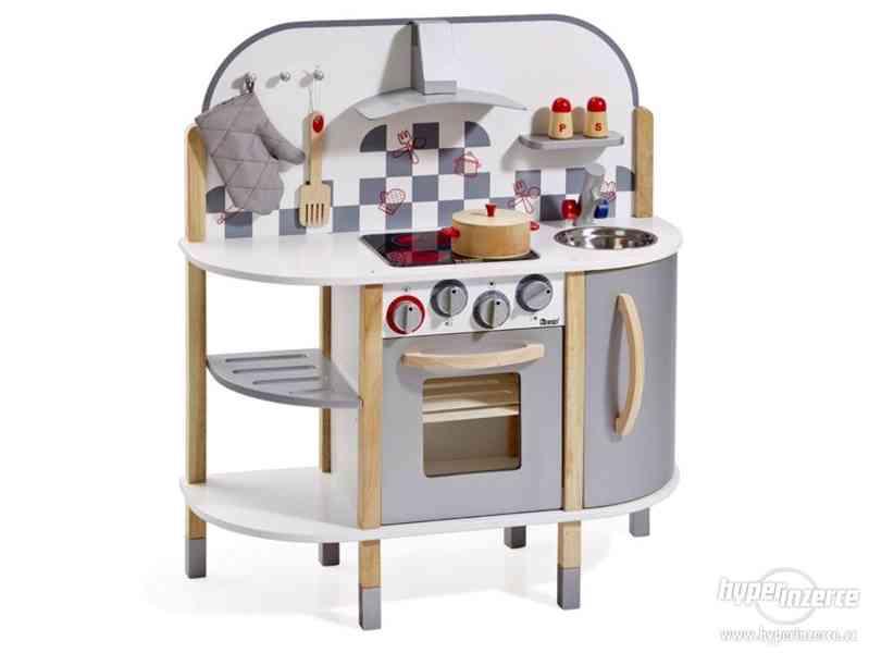 Dětská dřevěná kuchyňka natur silver- NOVÁ