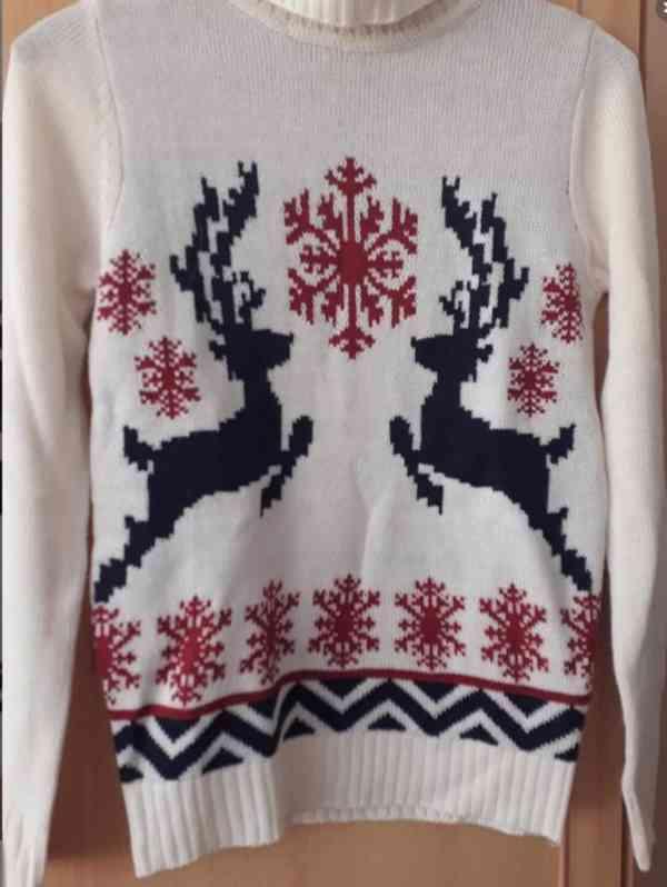 Vánoční svetr bílý, rolák