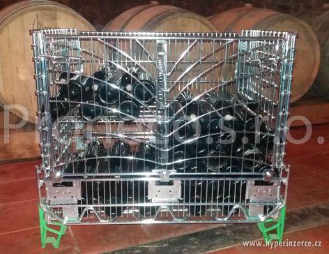 AKCE -Drátěný koš na láhve s vínem s přední otevírací stěnou